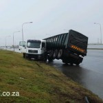 An articulated truck having a direction confusion moment on the N2 past the North End prison.