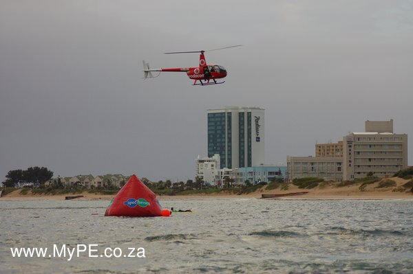 Two helicopters helped keep spectators close to the Ironman 2012 Swim action