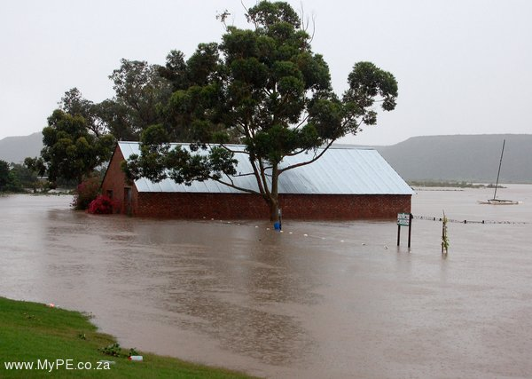 Zwartkops Rowing Club Shed surrounded by flood water