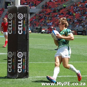 Kwagga Smith scores his debut try for the Springbok Sevens.