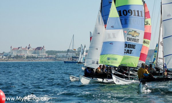 The start line on the second day of sailing during the 2013 Boardwalk Hobie Nationals. Photo by: Alan Straton