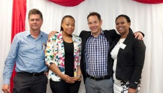 Networking at its finest, from left to right: Herman Dippenaar (Tiger Brands), Noma Nicol (Access Management), Grant Driver (Guest Speaker), Tuli Mtila (Access Management)