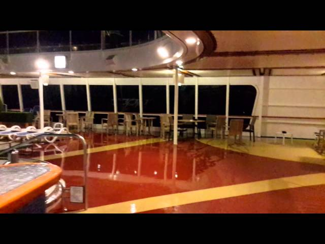 Storm at sea near Port Elizabeth on Cruise Ship Aurora World Cruise 2014 Riviera Pool