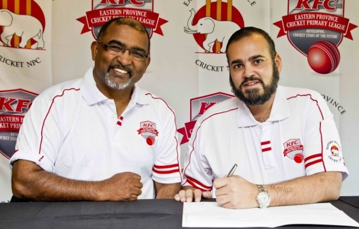 EP Cricket CEO Jesse Chellen and Fayyaz Moosa, CEO of KFC Eastern Cape sign the sponsorship contract at Friday's press conference