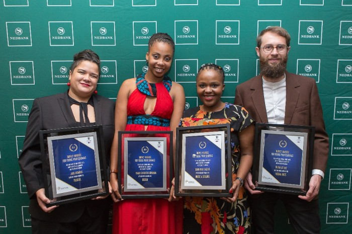 2014 ImpACT Award recipients, Jade Bowers, Thabo Makhetha-Kwinana and Bevan de Wet. Picture by Gareth Jacobs.