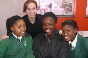 Jacqueline Allegra, English Teacher Assistant at Paterson High School with students (left to right) Nomvuselelo Fanele, Ntabiseng Sekele and Qaqamba Ngesi at the Career Guidance Workshop at Varsity College.