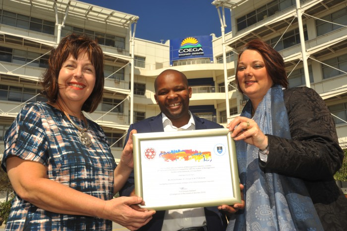 ACADEMIC ACHIEVEMENT: Thembinkosi Maduna (centre), Coega Development Corporation's acting Investor Services manager, worked in conjunction with Nadine Oosthuizen (left), a lecturer at the Nelson Mandela Metropolitan University's (NMMU) School of Business Management and Dr Janine Krüger a senior lecturer at NMMU, to won the Overall Best Paper award at the 27th South African Institute of Management Scientists (SAIMS) conference.