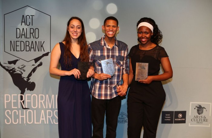 Winners of the 2015 ACT | DALRO | Nedbank Performing Arts Scholarships competition; Carla Smith (R150 000), Caleb Heynes (R105 000) and Andiswa Mbolekwa (60 0000). Picture by Debbie Yazbek