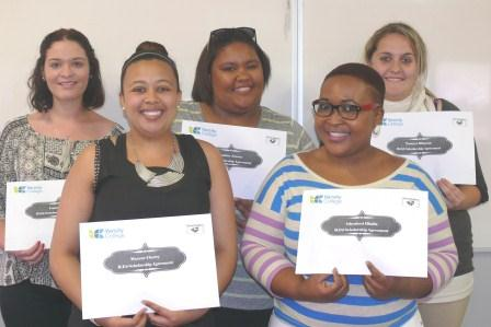 Investing in Teachers of Tomorrow: Port Elizabeth, Bachelor of Education Foundation Phase Scholarship recipients, from the Teacher Scholarship Programme, back row from left to right: Logan Hunt, Demaine Jansen and Tamryn Blignaut. Front row, from left to right: Maxene Cherry and Athenkosi Dladla.