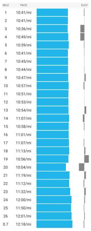 I managed a really consistent pace, ahead of schedule, for the first part of the race (excluding the quick toilet stop at mile 5!)