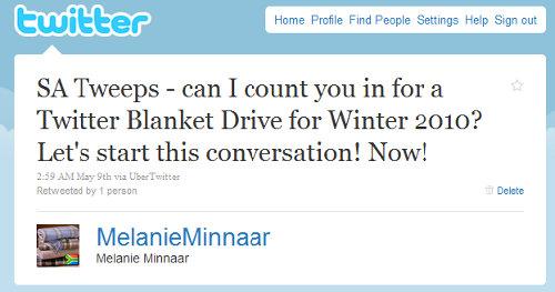 Melanie Minnaar Tweet