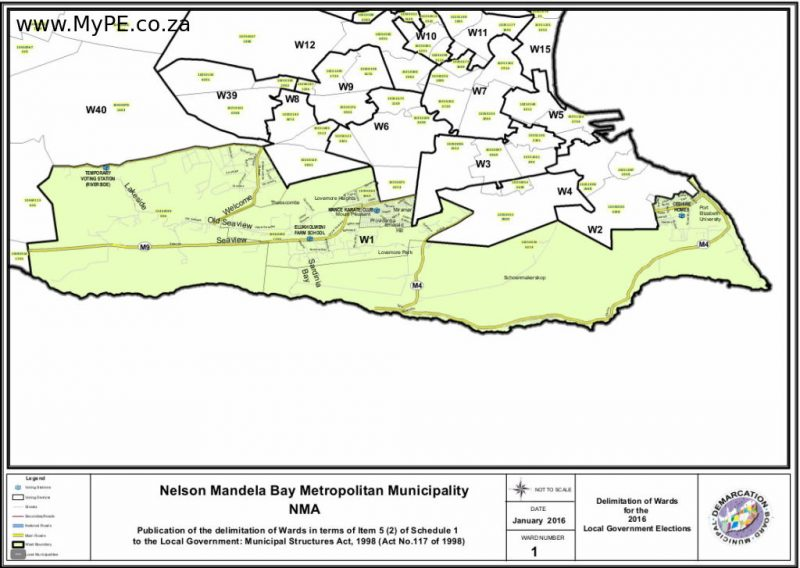 Ward 1: Lakeside, Seaview, Theesecombe, Lovemore Heights, Sardinia Bay, Miramar, Providentia, Emerald Hill, Lovemore Park, Schoenmakerskop, Summerstrand