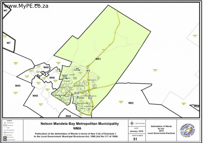 Ward 51: Levydale, Vanes Estate, Uitenhage NU, Winterhoekpark, Fairbridge Heights, Moselville, Penford, Van Riebeeckhoogte, Scheepershoogte, Valleisig, Fairbridge Heights Extension, Jansenville