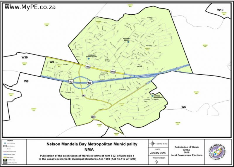 Ward 9: Western Hills, Westering, Tulbach, Linton Grange, Taybank, Framesby, Framesby North, Framesby Extension, Sunridge Park