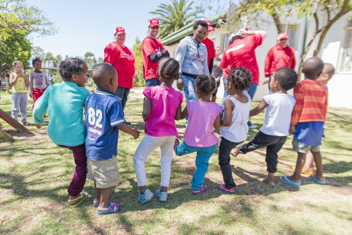 A few of the 106 children playing and dancing at the Oosterland Youth Centre in Despatch, Port Elizabeth
