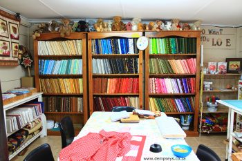 well stocked quilt shop, love the colour!