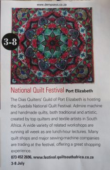 3-8 July 2017. national quilt fest, pe. sa country life advert