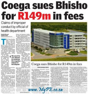 Coega Sues Bhisho for R149m in fees