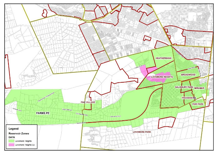 Ward 1 Water Shutdown Areas