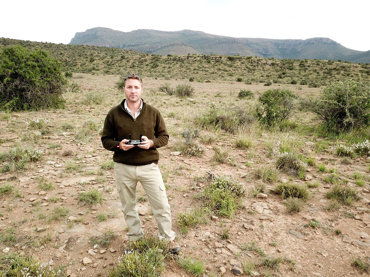 Joe Ott, on his farm Riverdale near Graaff-Reinet, makes use of drone technology to assist in his farming operations.