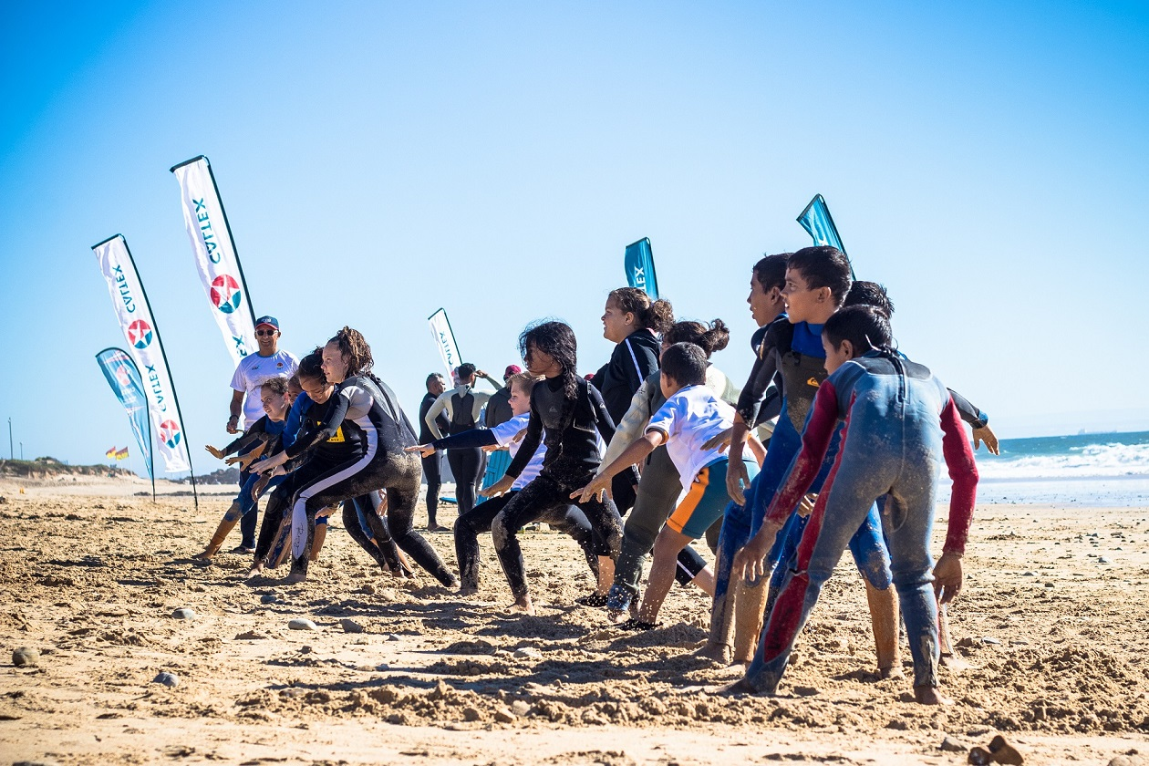 SURFS UP - Gearing up for this weekend's Learn to Surf alongside Surfing legends at Pollok Beach Photo: Ian Thurtell