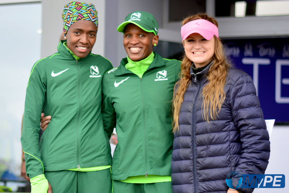 The Winners of the 10km Women's race from Left to Right: Ndileka Mvakwendlu (3rd), Ntombesintu Mfunzi (1st), Kelly Van Vliet (2nd)