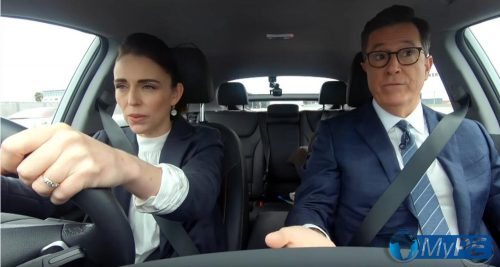 Jadinda Ardern and Stephen Colbert