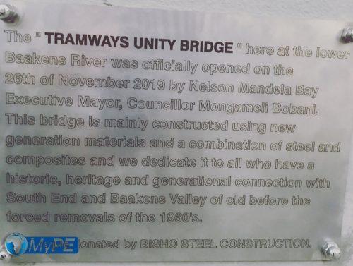 Tramways Unity Bridge Plaque