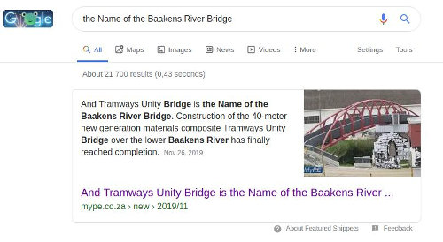 Baakens Bridge - Google Feautured Snippet, MyPE